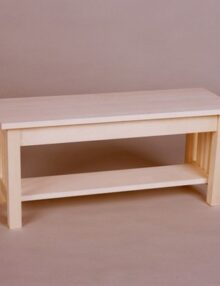 2021-40 Maple Mission Bench with shelf Unfinished
