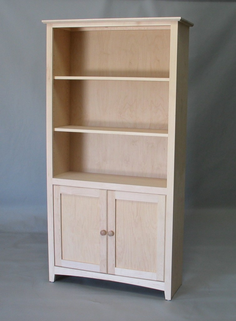 Maple Shaker Bookcase with door kit - Unfinished 21-3872-13
