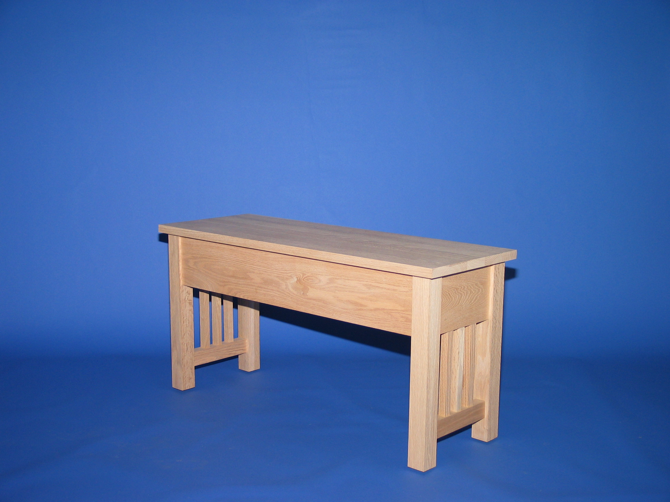 3022 32 Oak Mission Shallow Storage Bench Unfinished Down To Earth Wood