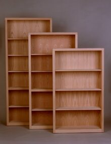 "Oak Contemporary Bookcases 60"", 72"" and 84""H Unfinished"