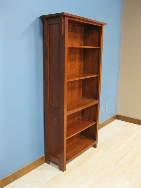 """... Quarter Sawn White Oak Mission Bookcase 50-3672-13 - Early American  Stain ... - Mission Bookcase 17 3/4"""" Deep"""