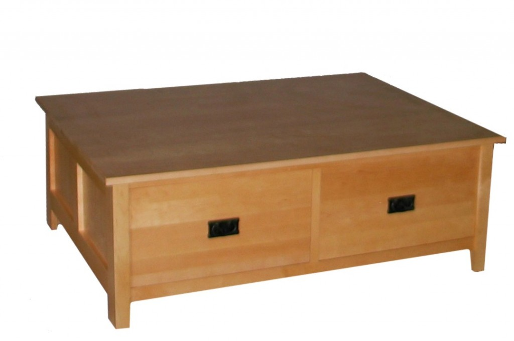 2009 Modified Maple Mission Square Coffee table with 2 drawers Natural Stain