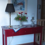 2011 Modified Maple Mission Sofa Table Americana Royal Burgundy Finish