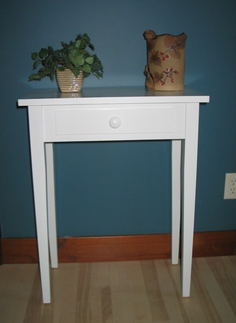 2114 24 Maple Shaker Hall Table   White Paint
