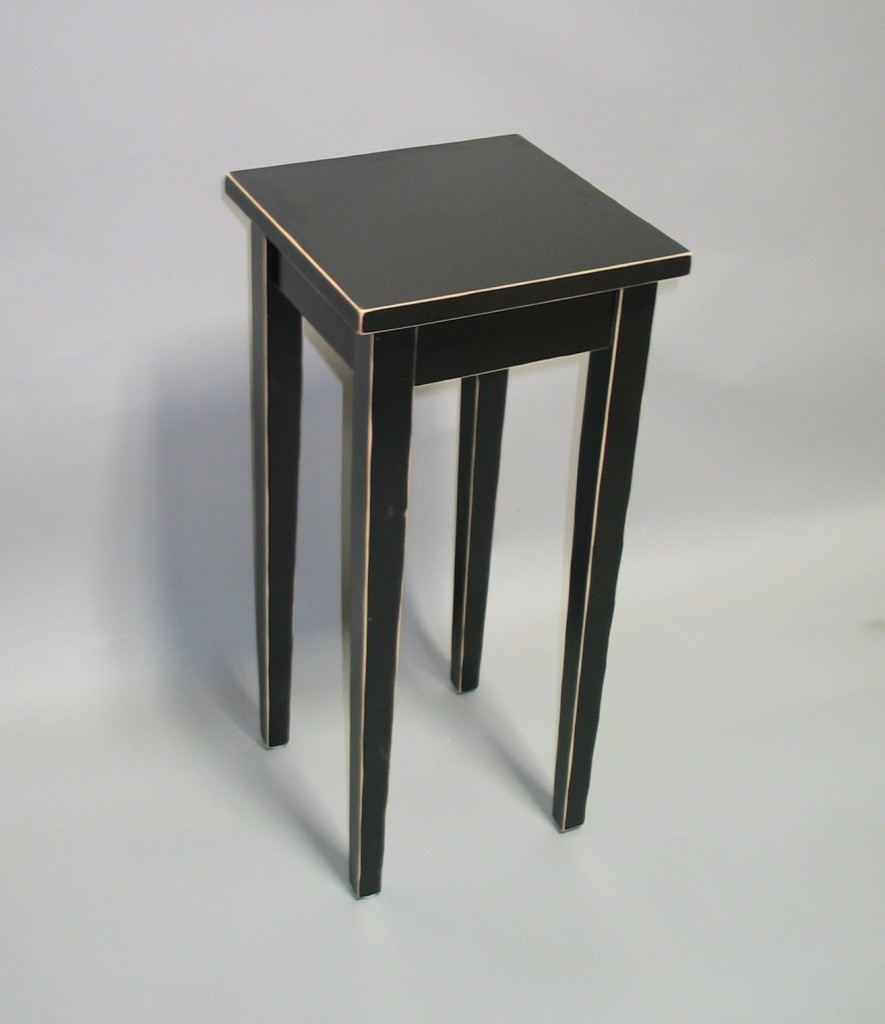 2118-24 Shaker Maple Plant Stand Distressed Black Paint Finish