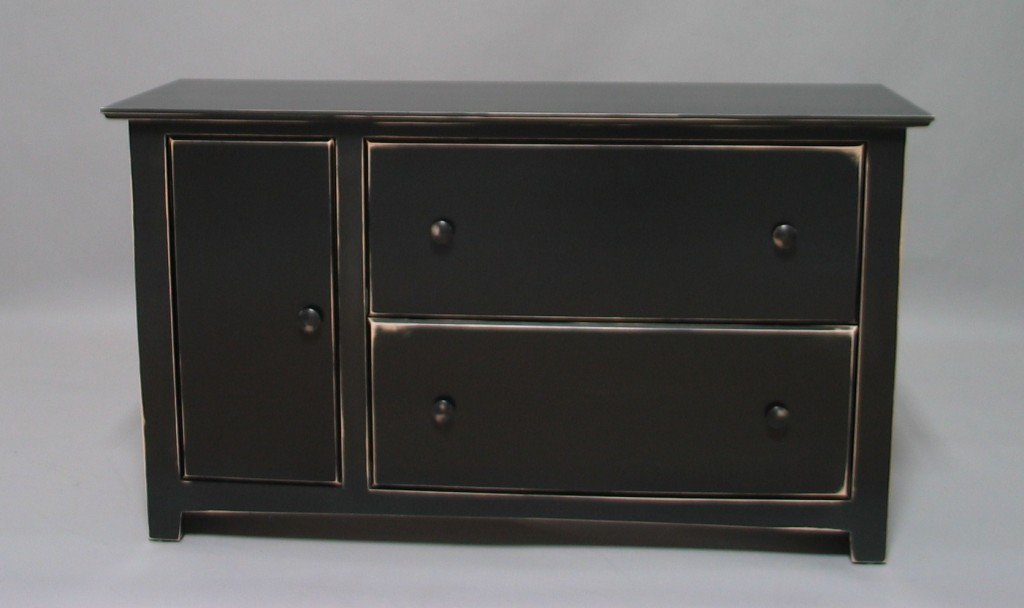 Modified Maple Shaker 2 Drawer Lateral File Cabinet - Distressed Black Finish 21417-2L