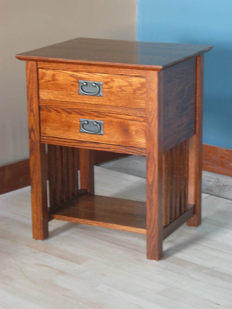 3013 Oak Mission 2 Drawer End Table - Special Walnut Stain