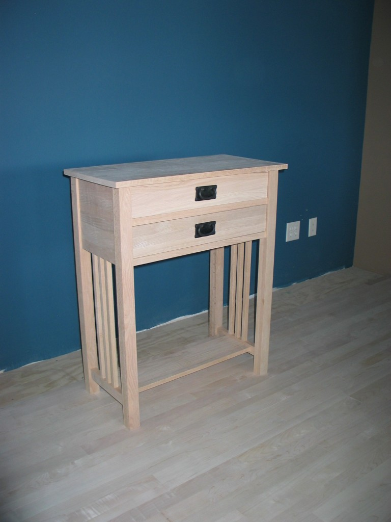 3014-30 Red Oak Modified Hall Table - Unfinished