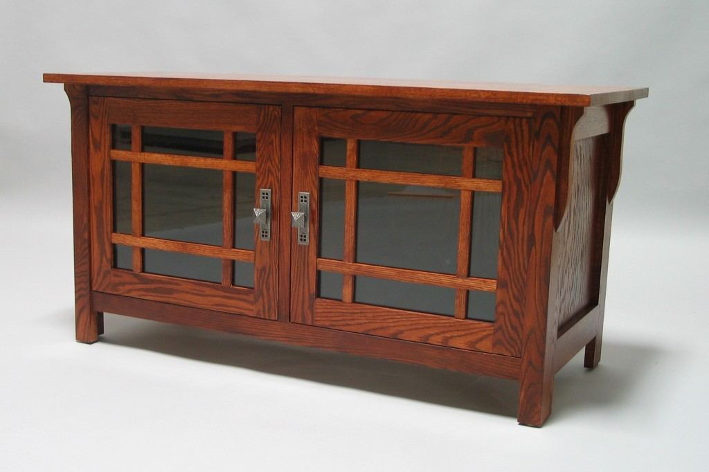 "Mission Oak 45"" Media Console glass doors 2 shelves Early American finish 30504-25"