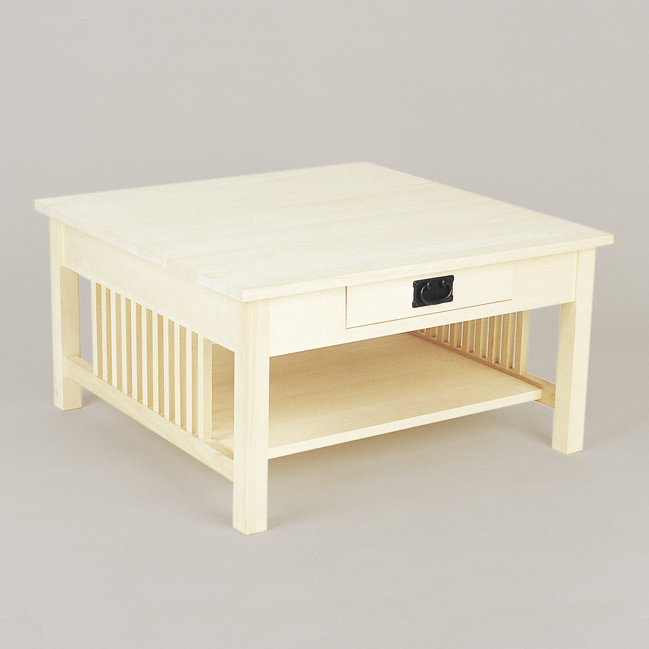 Square coffee table w drawer Square coffee table with shelf