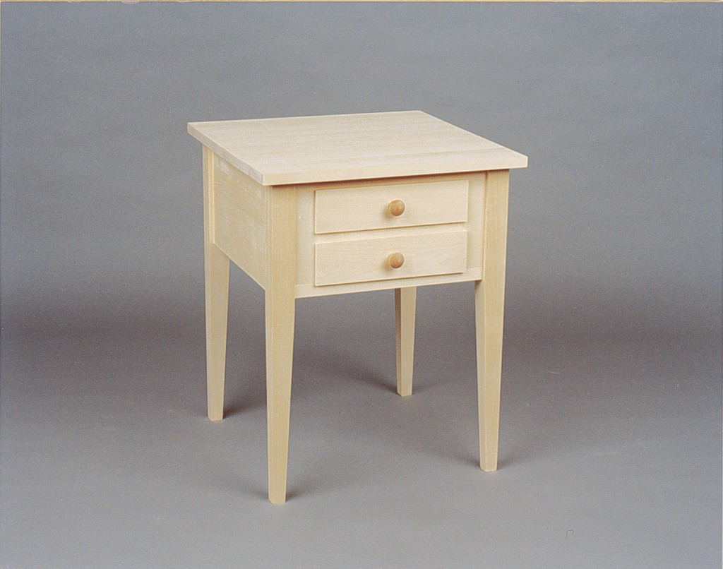 Shaker End Table - Nightstand with 2 drawers - Unfinished