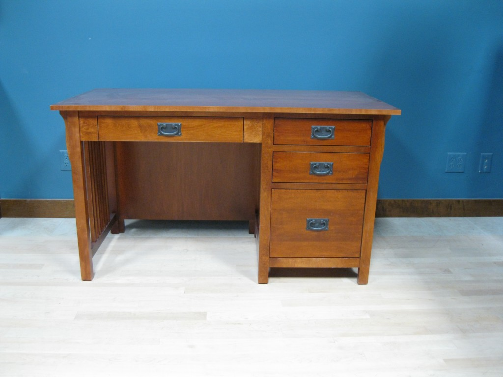 20416-RFB Maple Mission Single Pedestal Desk Right Stack - Antique Cherry Finish