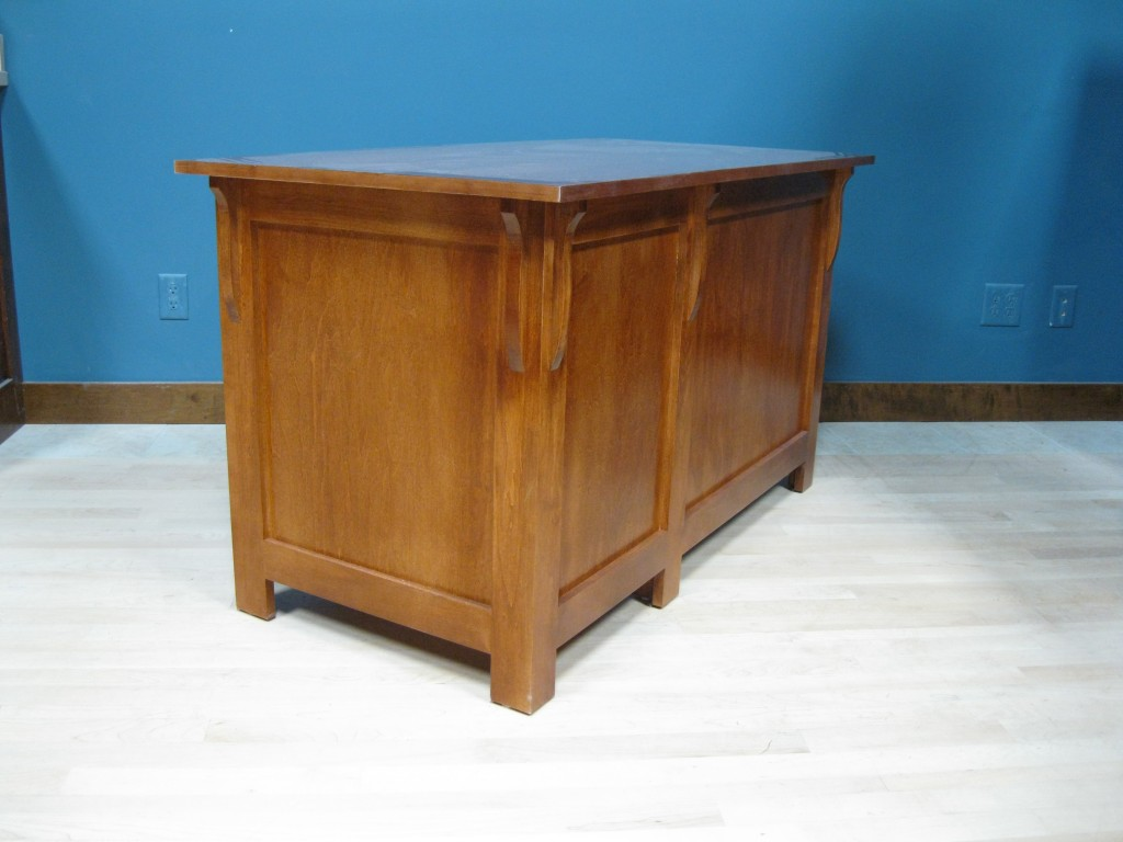 20416-RFB Maple Mission Single Pedestal Desk Right Stack - Antique Cherry Finish End view