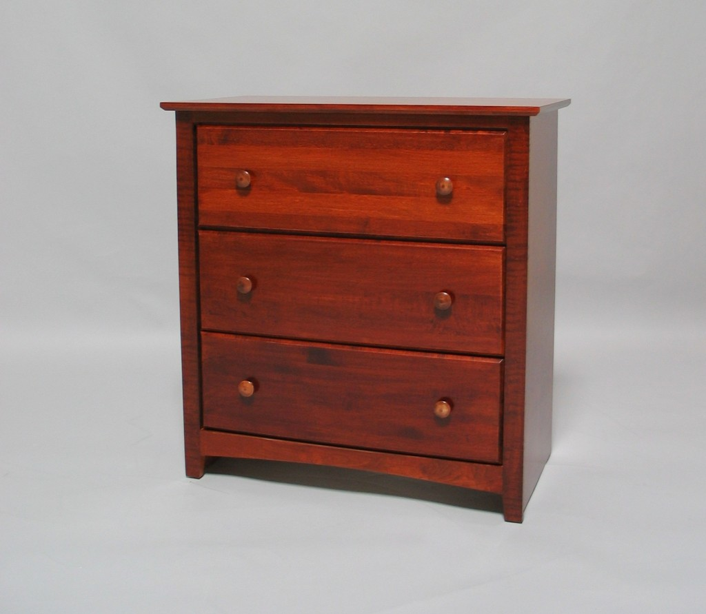 21203-D Maple Shaker 3 Deep Drawer Chest - Early American stain