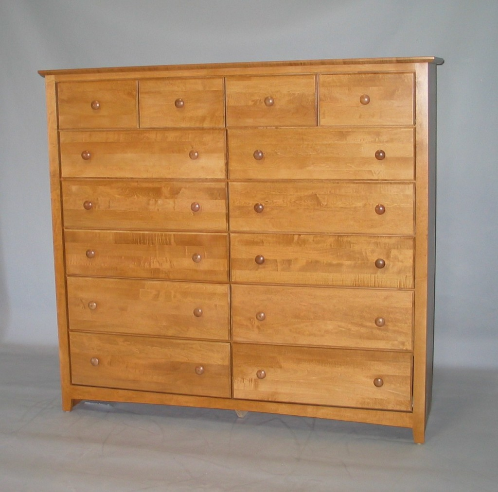 21213-4D Maple Shaker 13 Drawer Dresser 4 bottom drawers deep -