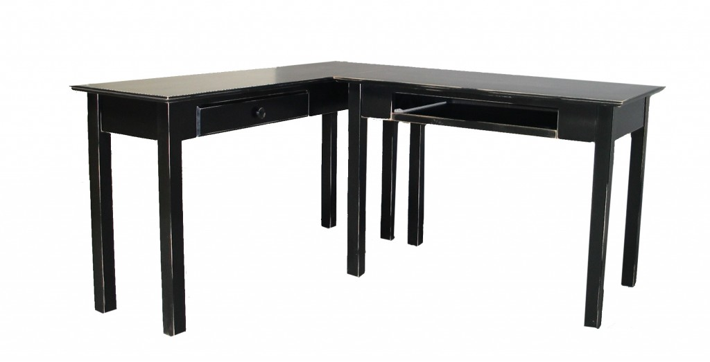 21415 Modified Maple Shaker Desk Distressed Black Finish