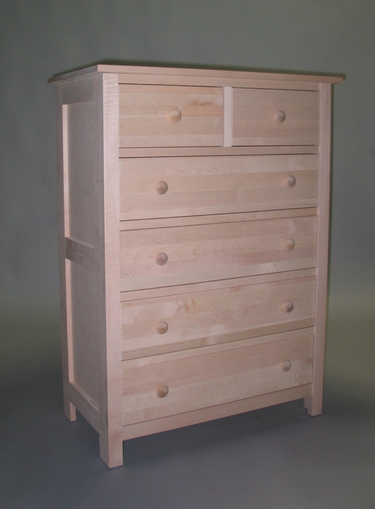 23205-DS Maple Homestead 5 Split Deep Drawer Chest - Unfinished