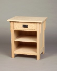 Oak Mission 1 drawer nightstand - Unfinished #Maple Homestead Bedroom custom bed foot stool nightstand #30201
