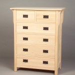 30205-S Oak Mission 5 Split Drawer Chest - Unfinished