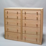 32210-SS Modified Red Oak Contemporary 10 Drawer Shallow Split top row SS 2nd row standard bottom rows deep - unfinished