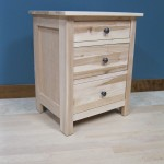 Hickory Homestead 3 Drawer Nightstand side view - Unfinished 63202