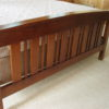 Maple Custom Queen Bed - footboard close up Ispwich Pine Stain