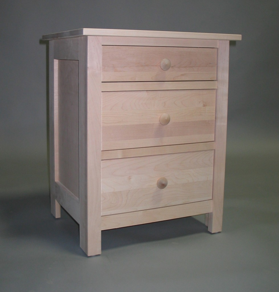 Maple Homestead 3 drawer nightstand - Unfinished 23202